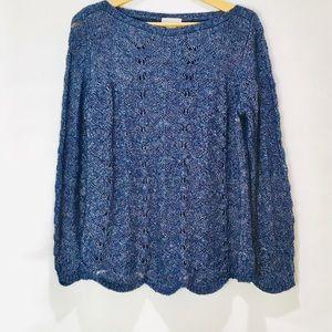 Soft Surroundings Scallop Edge Wool Blend Sweater